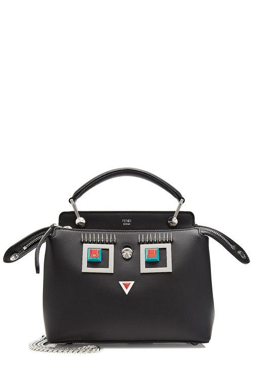 191146765bd4 Fendi Double Baguette Micro Embellished Leather Shoulder Bag In Black