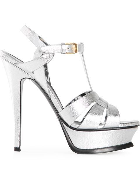 149e00374fb Saint Laurent Classic Tribute 105 Sandal In Silver Metallic Leather ...