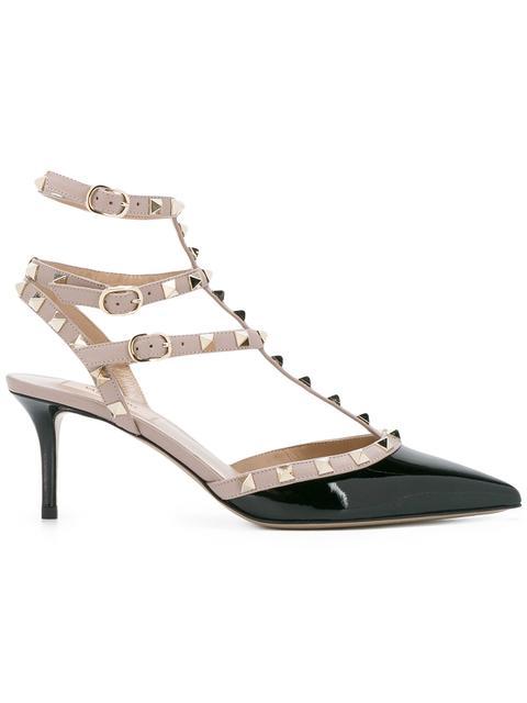 Valentino Garavani So Noir 65 Patent-leather Heeled Sandals In Black ,neutral