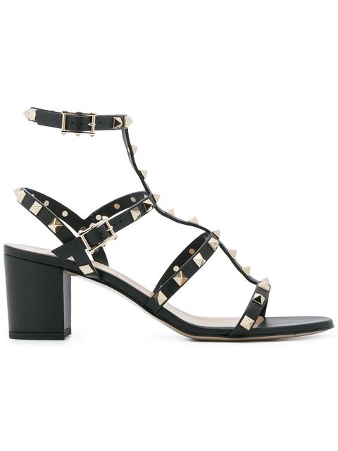 Valentino Garavani Rockstud 60 Leather Sandals In Black