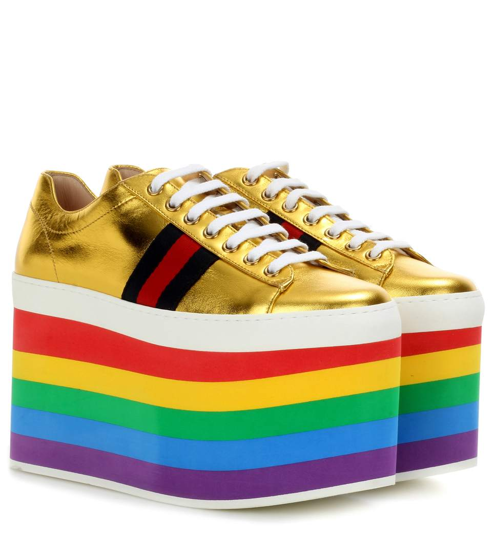 55625464a Gucci Peggy Low-Top Rainbow-Platform Trainers In Gold | ModeSens