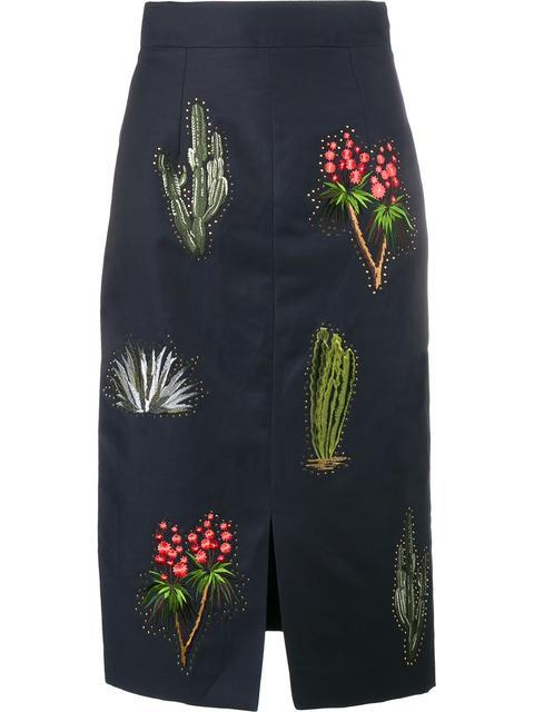 Stella Mccartney Cactus Embroidered Pencil Skirt In Black