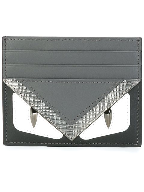 b2bb98ac316 Fendi Black   Grey  Bag Bugs  Card Holder