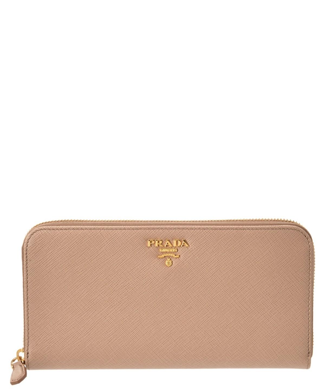 Prada Saffiano Leather Triangle Zip Around Wallet In Nude
