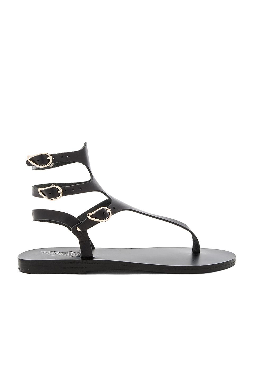 Ancient Greek Sandals Woman Themis Croc-effect Leather Sandals Black