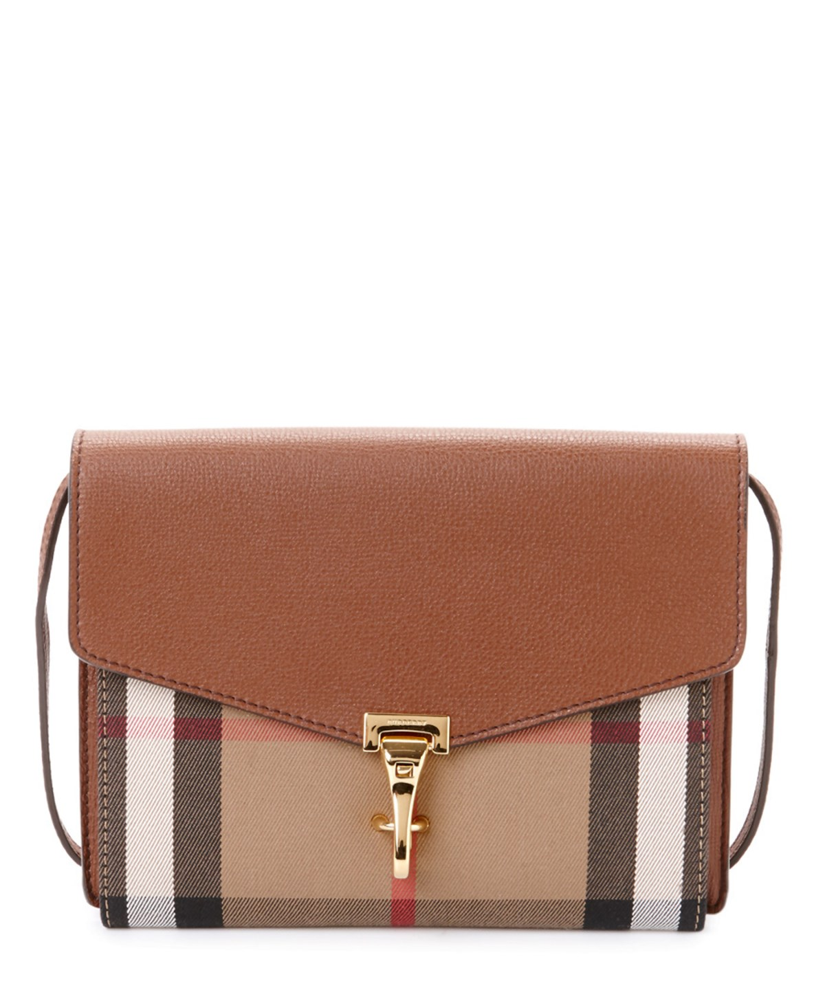 Burberry Macken Small House Check & Leather Crossbody In Brown