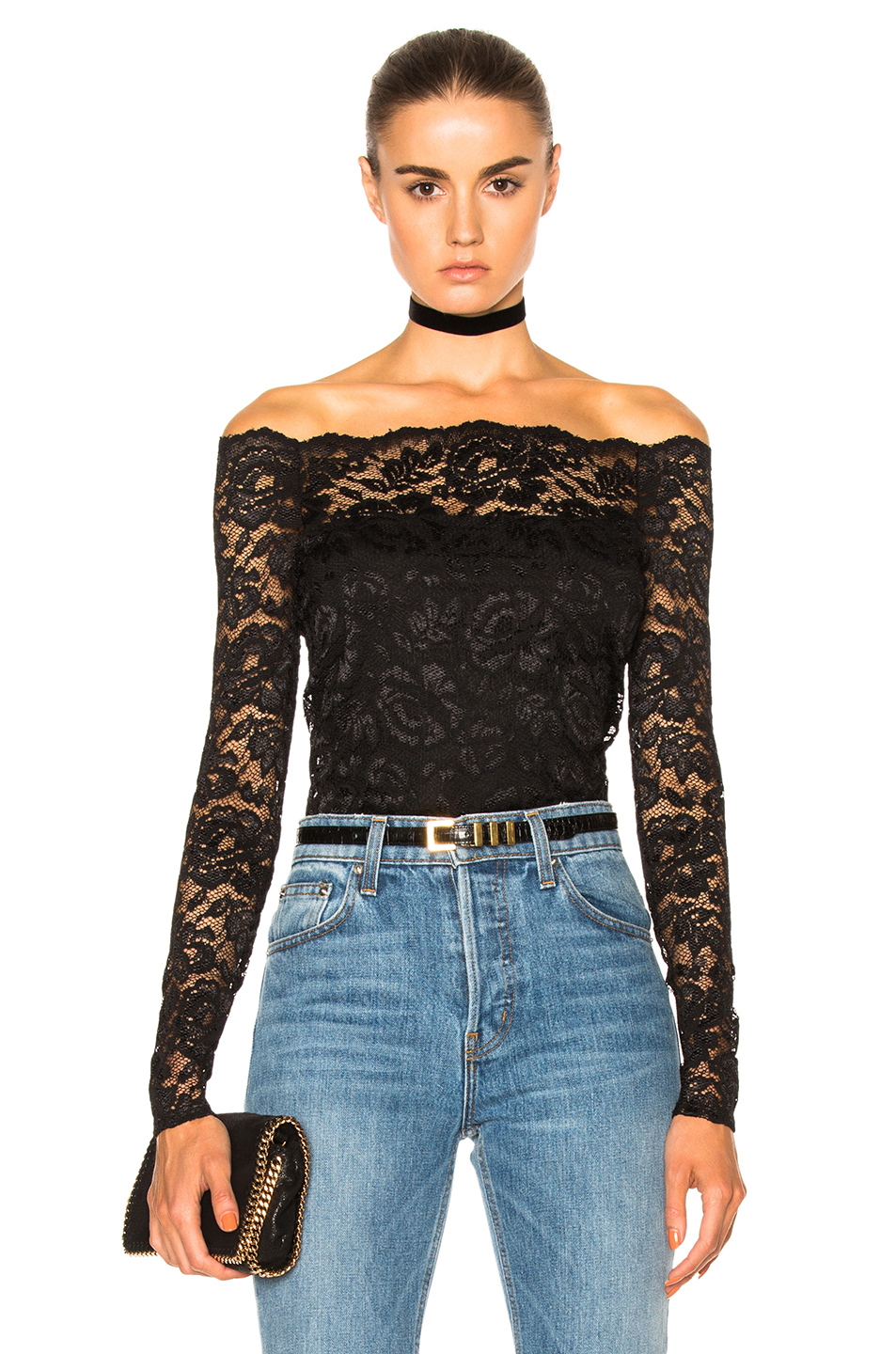 b9d2fb9d04daed L'Agence Heidi Lace Off-The-Shoulder Top - Black | ModeSens