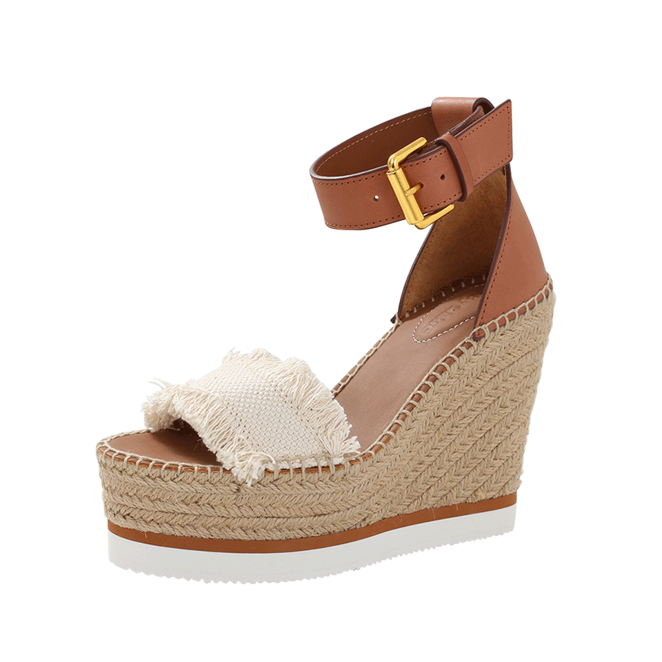 174fc6722dd8a See By ChloÉ Fringed Canvas And Leather Espadrille Wedge Sandals In ...