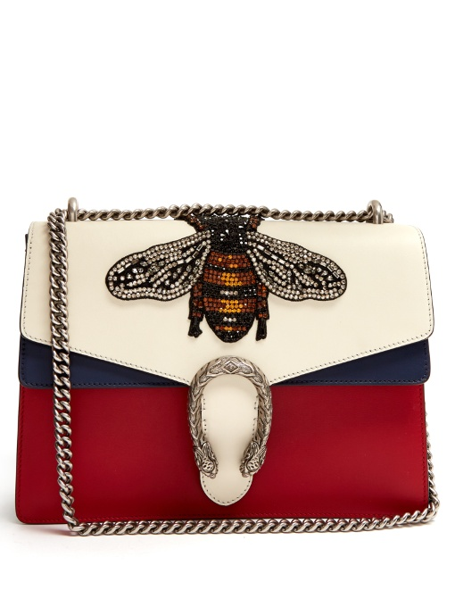a8e190ba5d12 Gucci Women's Dionysus Crystal Embellished Bee Crossbody Bag In Red, White  And Navy