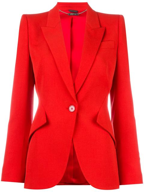 Alexander Mcqueen Single Breasted Grain De Poudre Jacket In Red
