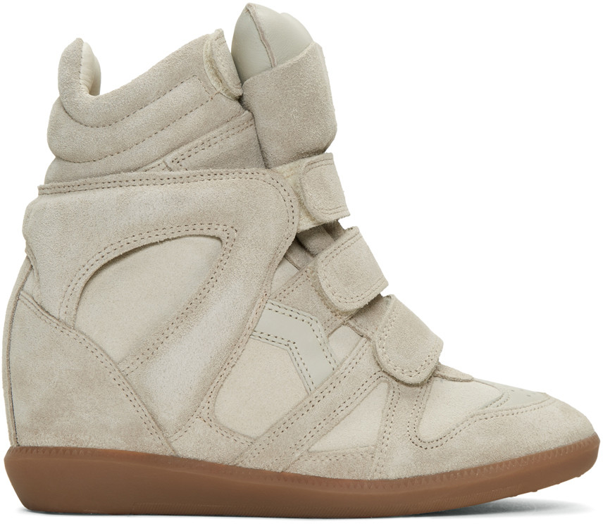 Isabel Marant Suede Wedge Sneakers In 23Ec Ecru