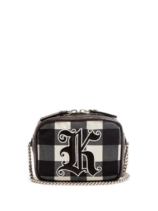 bea8202719 Christopher Kane Embroidered Gingham Cross-Body Bag In Black | ModeSens