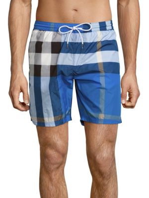 f0c2e9248a500 Burberry Mid-Length Check Swim Trunks, Cerulean Blue | ModeSens