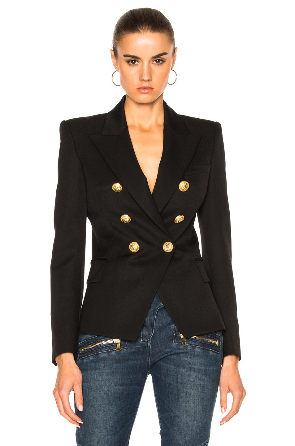 Balmain Tailored Double-Breasted Wool Blazer  In C0100 Black