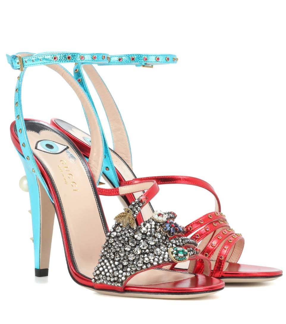 e94d4801cb4a Gucci Embellished Metallic Leather Sandals In Red