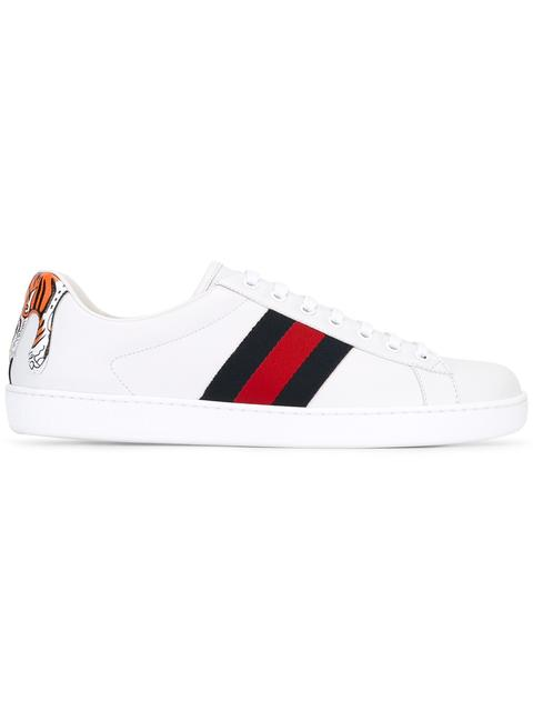 025dbf350 Gucci New Ace Hanging Tiger Leather Low-Top Sneaker, White | ModeSens