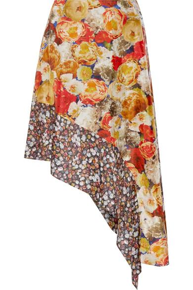 Acne Studios Pamsan Asymmetric Floral-print Silk-satin Skirt In Multicoloured