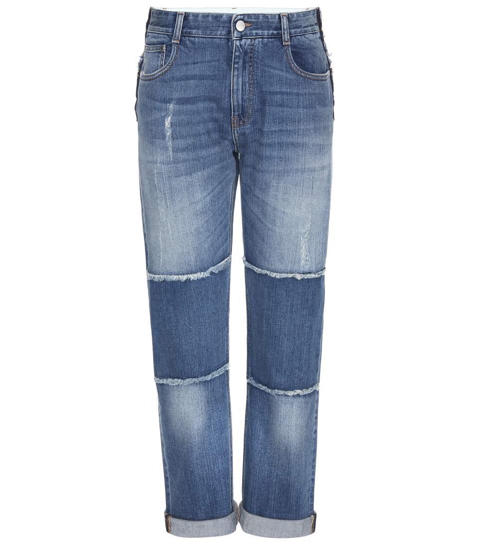 Stella Mccartney Patchwork Distressed Skinny Boyfriend Jeans In Dark Classic Llue