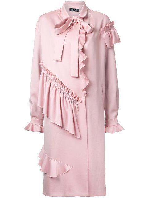 Anna October Ruffled Midi Coat - Pink