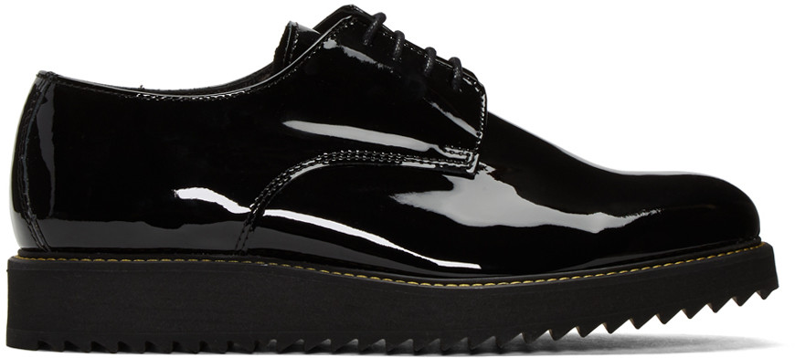 Public School Siggy Creeper Patent Leather Platform Derby Shoes In Black