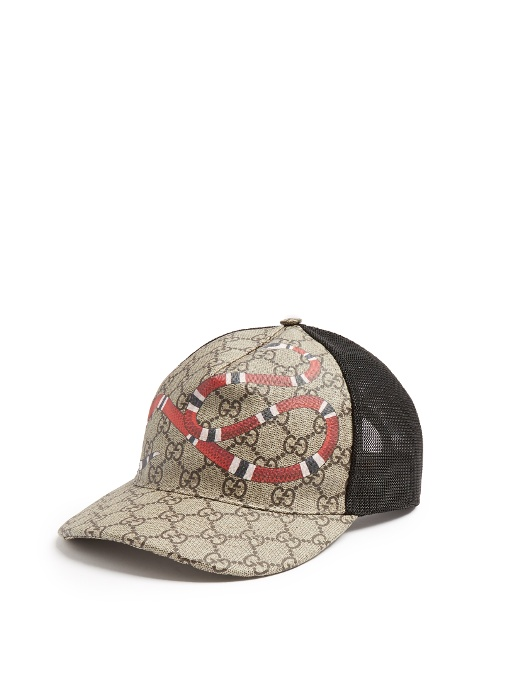 ff300997 Gucci Rap Baseball Cap With Snake And Gg Logo Detailing In Neutrals ...