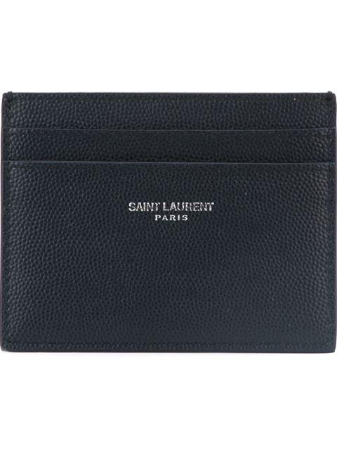Saint Laurent Card Case In Grain De Poudre Embossed Leather In 1000 Black