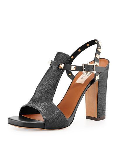 02ea9e331528 Valentino Grain Calfskin Leather Rockstud Platform Sandal 100Mm In Black
