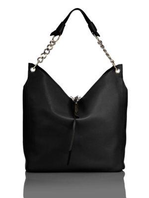 Jimmy Choo Raven Nappa Leather Hobo Bag In Black