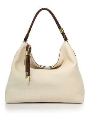 Michael Kors Skorpios Leather Hobo In Ecru