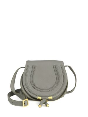Gucci Small Marcie Leather Saddle Bag In Cashmere Grey