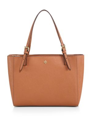 Tory Burch York Small Saffiano-leather Tote In Luggage