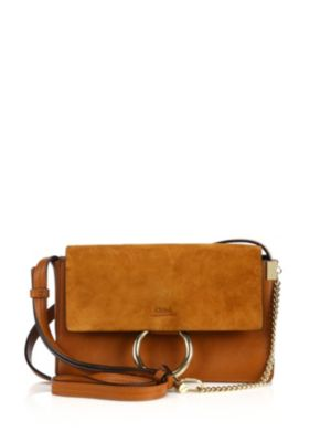 ChloÉ Small Faye Leather & Suede Shoulder Bag In Classic Tobacco