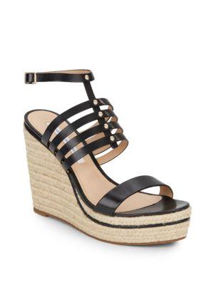 Diane Von Furstenberg Gabby Strappy Leather Espadrille Wedge Sandals In Black