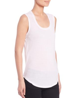 Atm Anthony Thomas Melillo Ruched Stretch-pima Cotton Jersey Tank In White