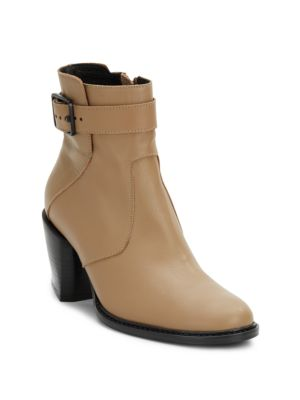 Helmut Lang Zenith Buckled Leather Ankle Boots In Sand
