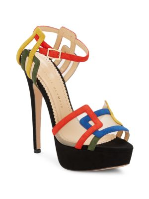 Charlotte Olympia Geometric Suede Platform Sandals In Multi Colo