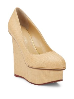 Charlotte Olympia Carmen Raffia Platform Wedges In Natural