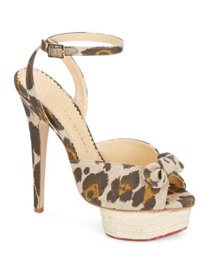 Charlotte Olympia Serena Leopard-Print Linen Platform Sandals