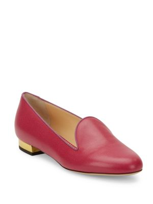 Charlotte Olympia Abc Customizable Leather Flats In Magenta