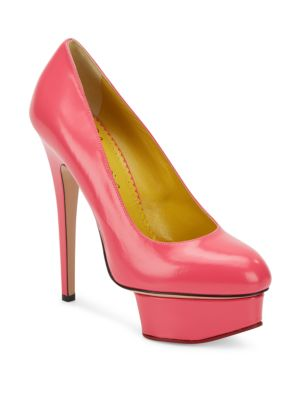 Charlotte Olympia Dolly Leather Platform Pumps In Shocking Pink