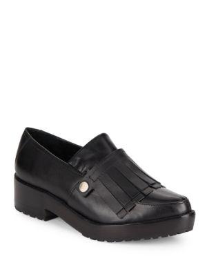 Tibi Esmae Leather Keltie Loafers In Black
