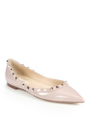 Valentino Rockstud Patent Leather & Leather Ballet Flats In Blush