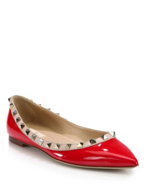 Valentino Rockstud Patent Leather Ballet Flats In Red