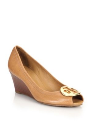 Tory Burch Sally 2 Tumbled Leather Wedge Pumps In Beige-gold
