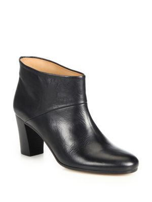 Maison Margiela Leather Stacked-heel Booties In Black