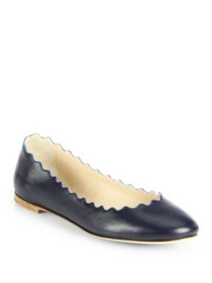 ChloÉ Scalloped Leather Ballet Flats In Dark Green