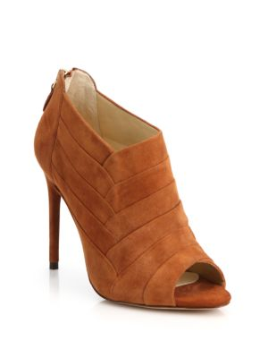 Alexandre Birman Petals Suede Peep-toe Ankle Booties In Brown