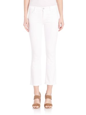 J Brand Selena Sateen Mid-rise Cropped Bootcut Jeans In Blanc