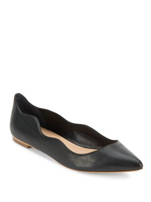 Loeffler Randall Wave Leather Point-Toeflats In Black