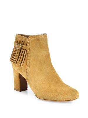 Tabitha Simmons Surrey Fringed Suede Block-heel Booties In Tan